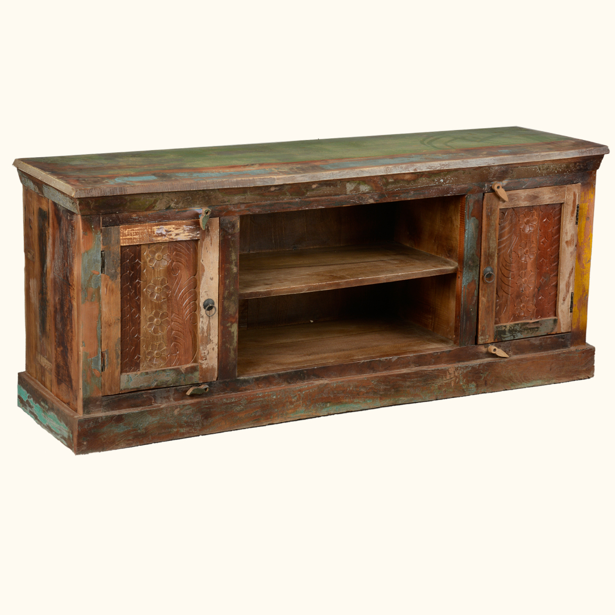 Reclaimed Media Stand Console Rustic Wood Hand Carved