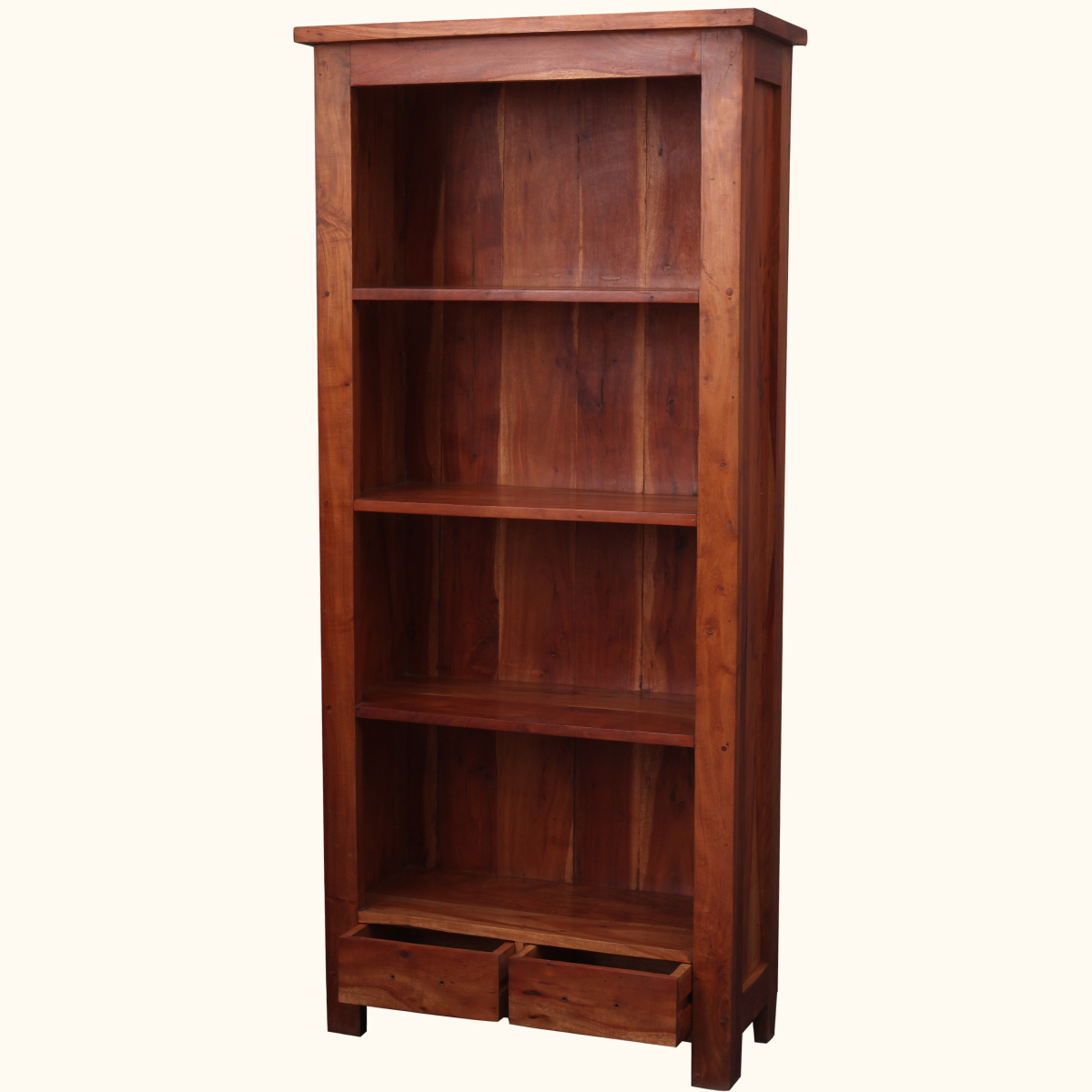 Large rustic shelf bookcase solid acacia wood modern