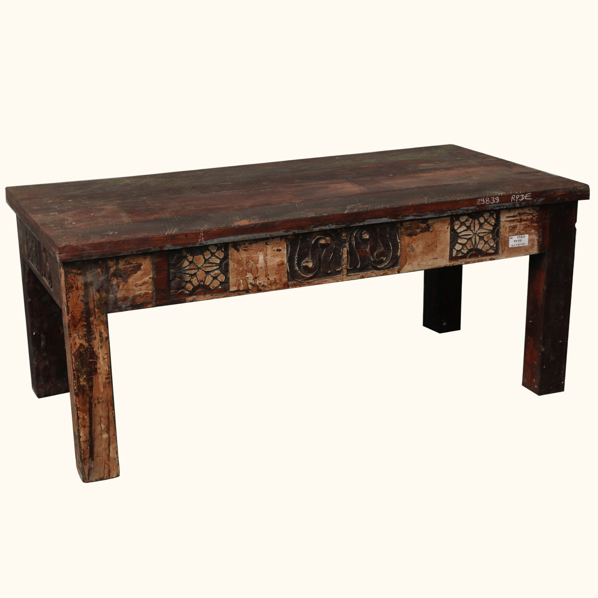 Hand carved rustic reclaimed wood multi color coffee table furniture ebay Carved wood coffee table