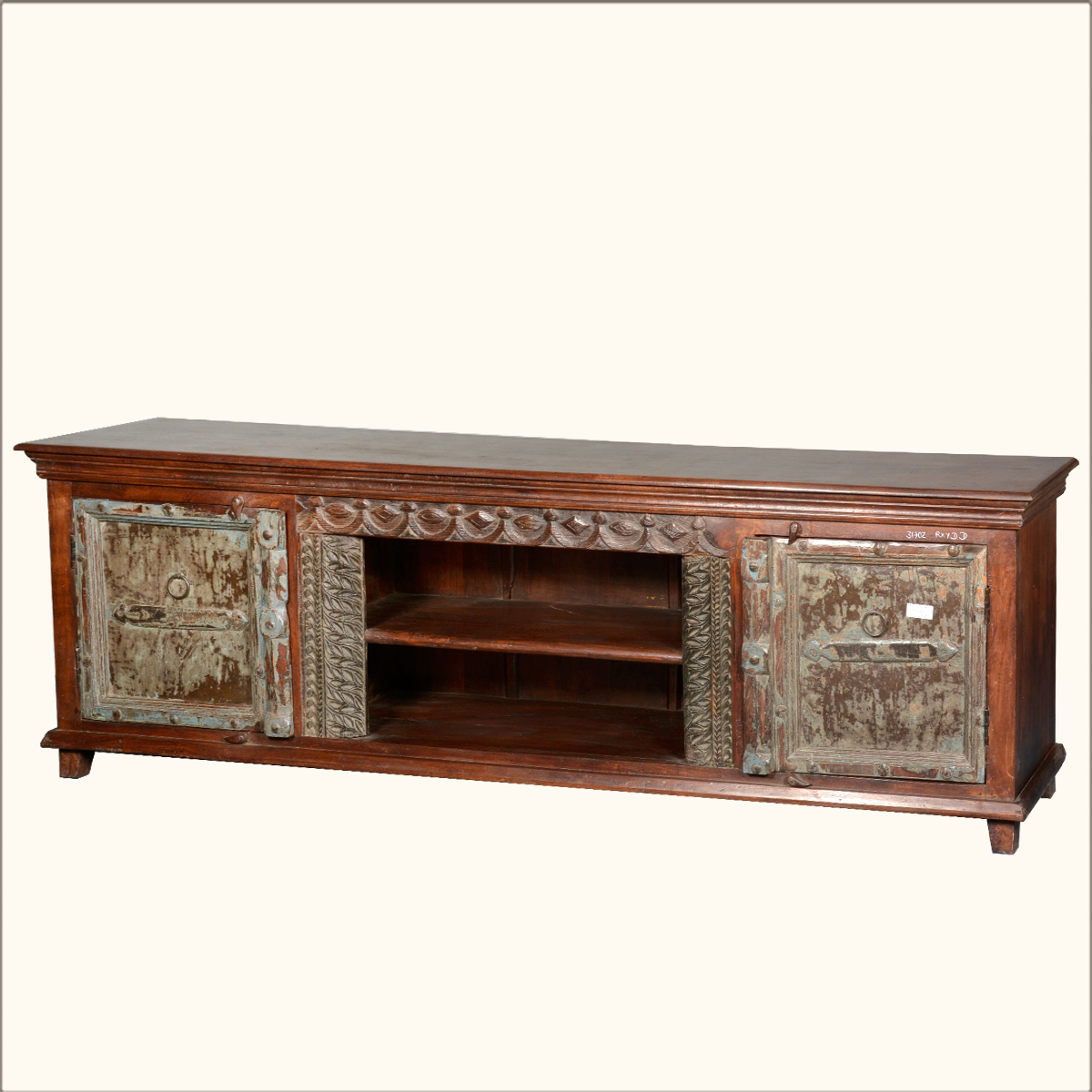Antique Style Reclaimed Wood Media Console Rustic Tv Stand