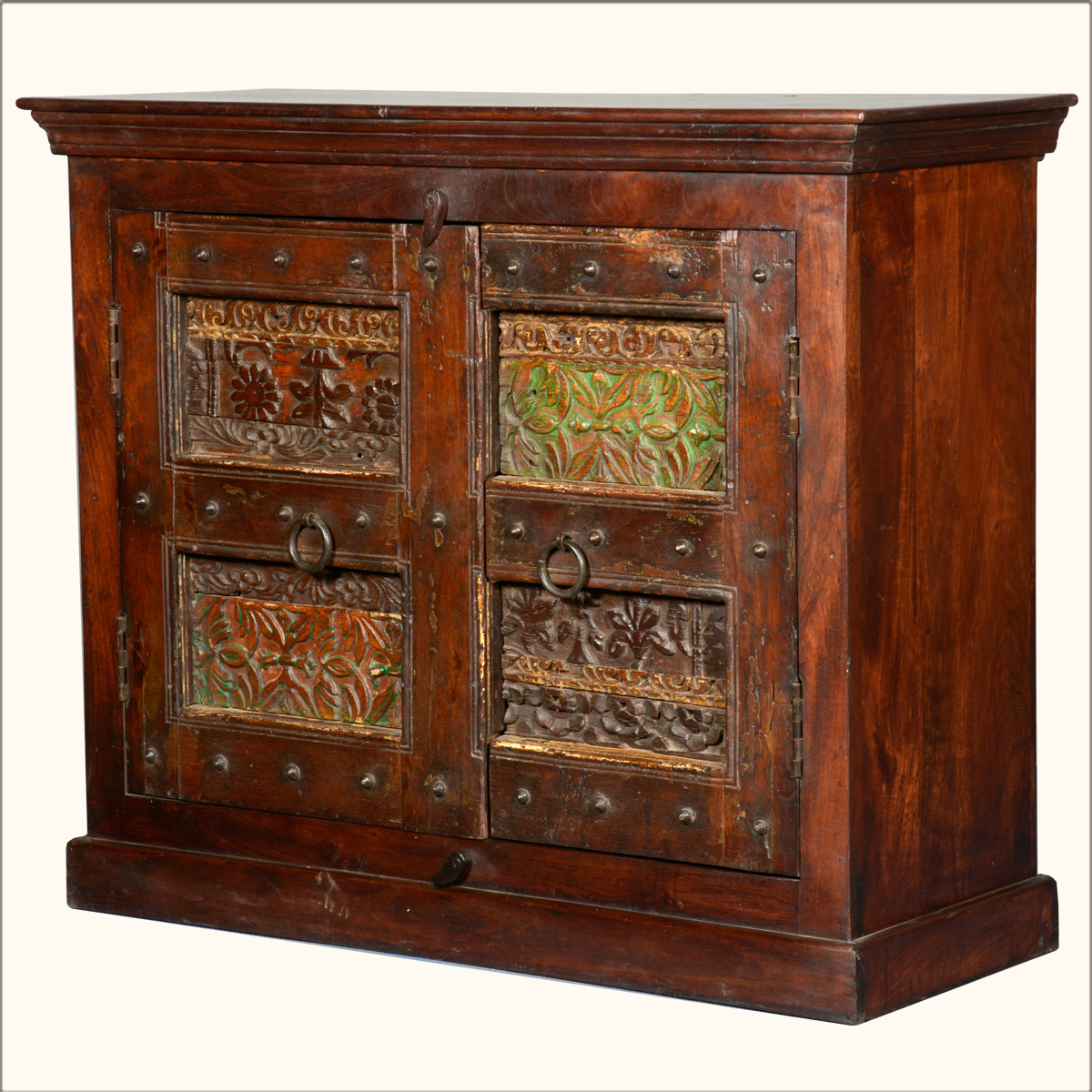 Asian hand carved old reclaimed wood wrought iron buffet
