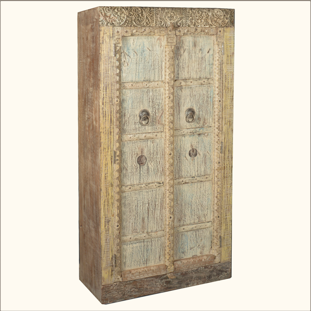 Marvelous photograph of Antique White Reclaimed Wood 72 Storage Shelf Clothes Cabinet  with #AB8020 color and 1200x1200 pixels