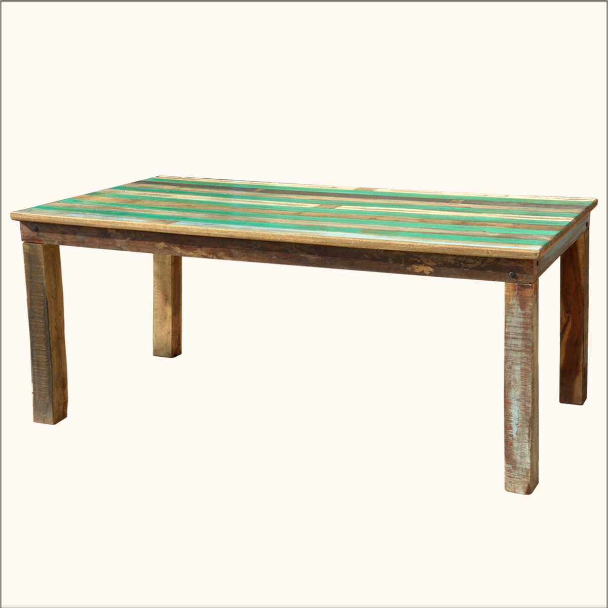 Rustic Solid Reclaimed Wood Distressed Dining Table Furniture For 6 People