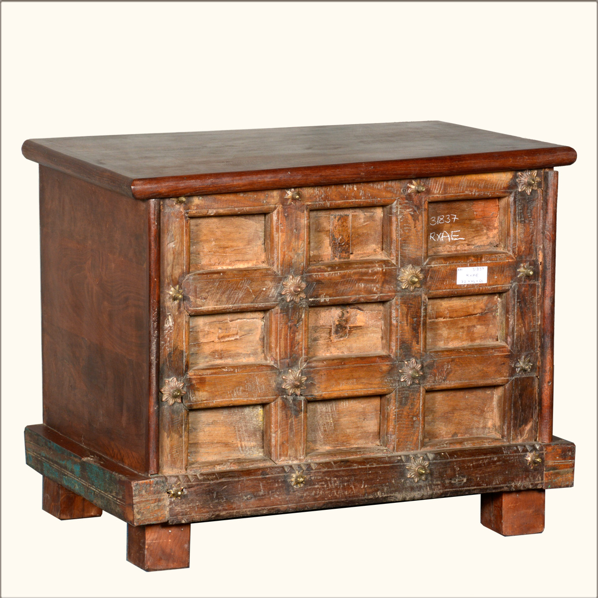 Rustic Reclaimed Wood Standing Mini Coffee Table Storage Chest Trunk