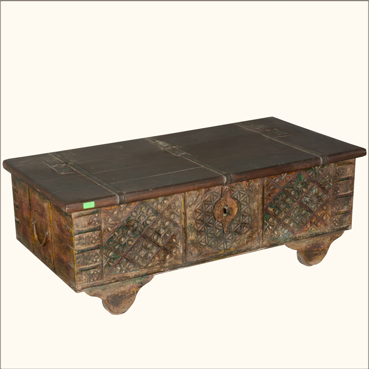 Asian hand carved reclaimed wood storage box coffee table for Asian trunk coffee table