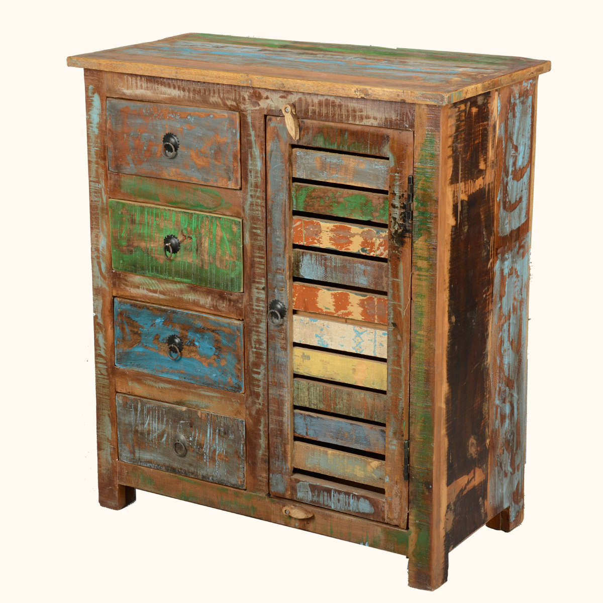 Reclaimed wood distressed rustic kitchen cabinet sideboard