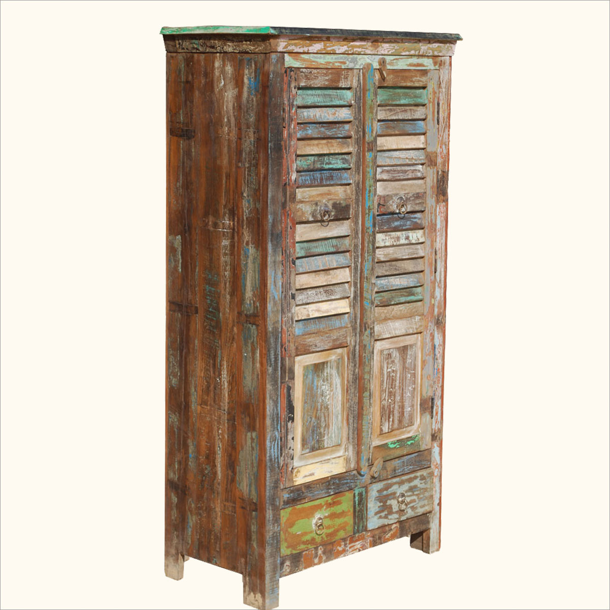 Distressed Rustic Old Reclaimed Wood Shutter Door Storage Armoire . Full resolution  img, nominally Width 1200 Height 1200 pixels, img with #AB8020.