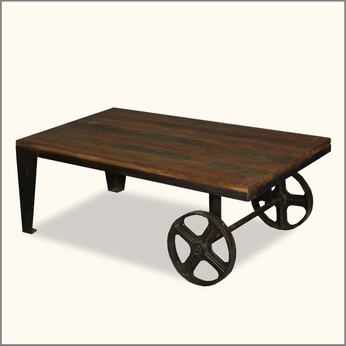Industrial wrought iron reclaimed wood coffee table cart for Coffee tables on wheels