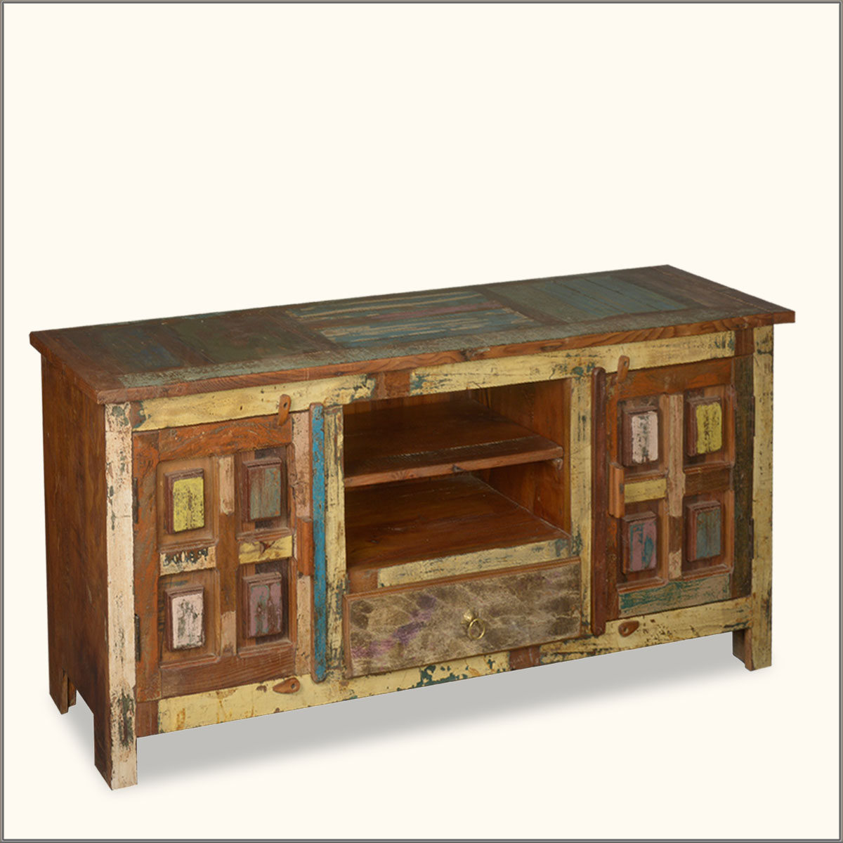 """Console Cabinet Furniture: Distressed 60"""" Reclaimed Wood Media Console Storage"""