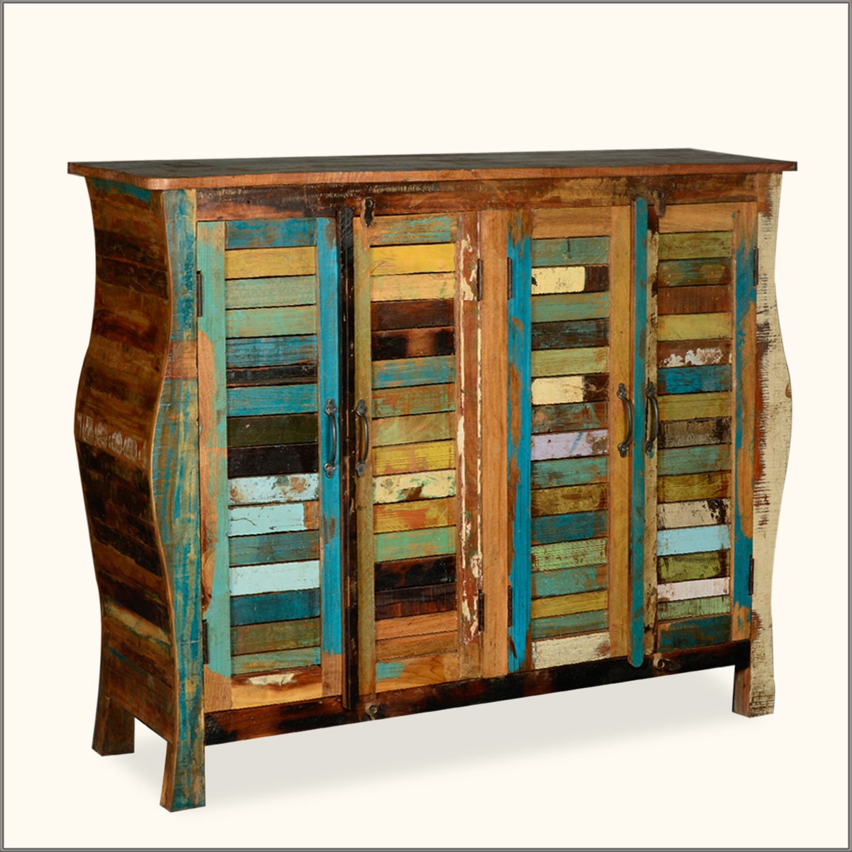 Distressed Wood Buffet ~ Rustic multi color distressed reclaimed wood sideboard