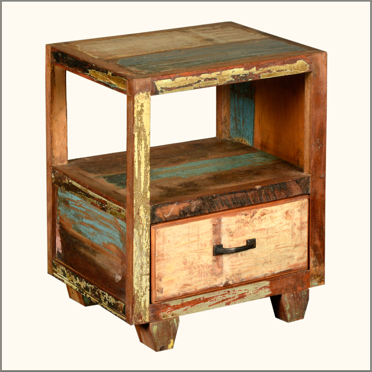 rustic reclaimed wood open back night stand storage side