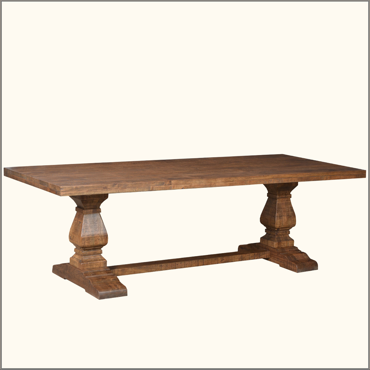 Rustic farmhouse large trestle pedestal solid wood dining for Solid wood farmhouse table