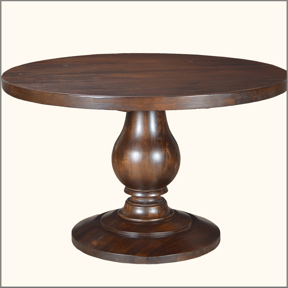 Rustic baluster solid wood round pedestal dining table for Solid wood round tables dining