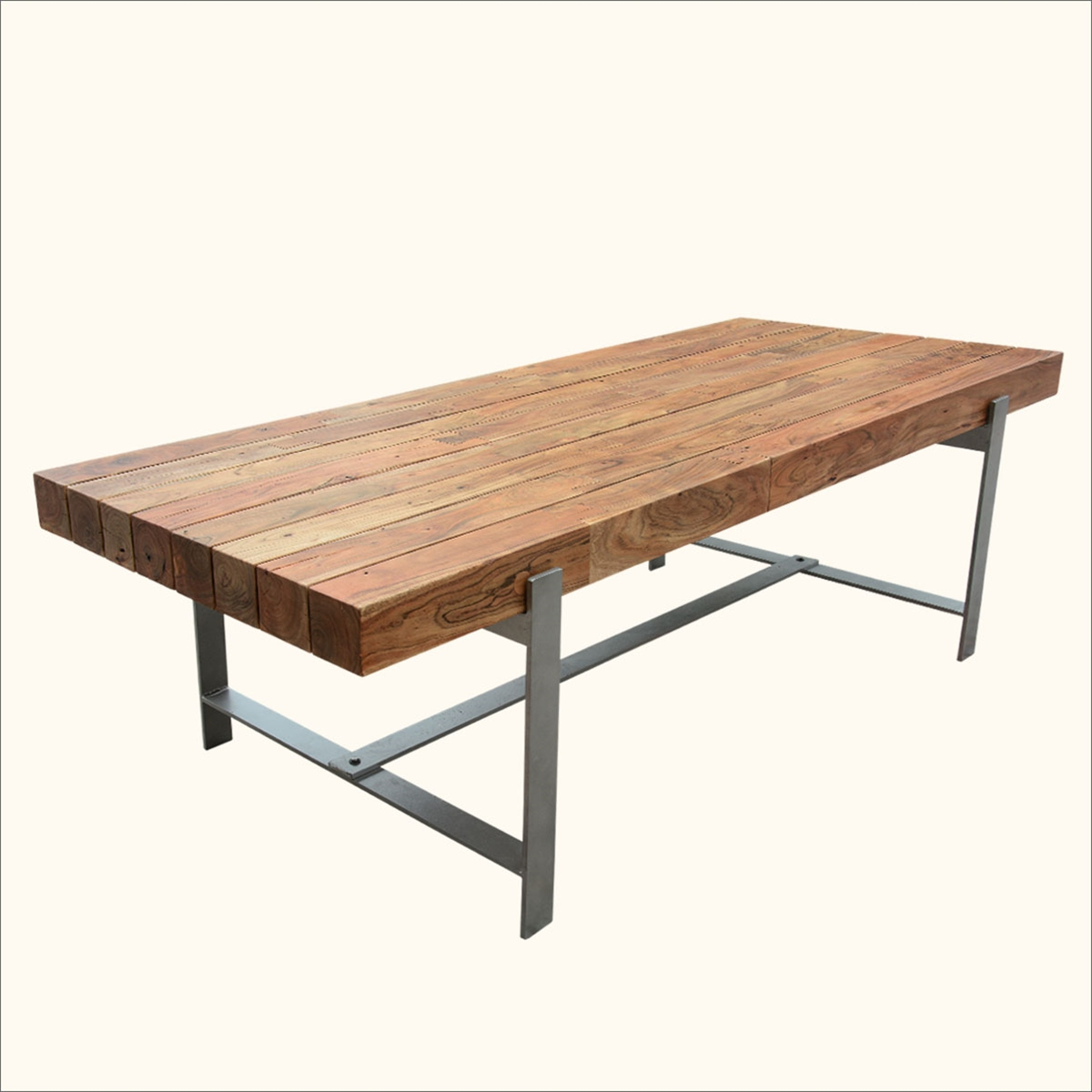 Unique industrial wood modern rustic iron base factory for Unusual dining table bases