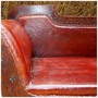 Solid Carved Wood 3 Seater Leather Sofa Loveseat Bench