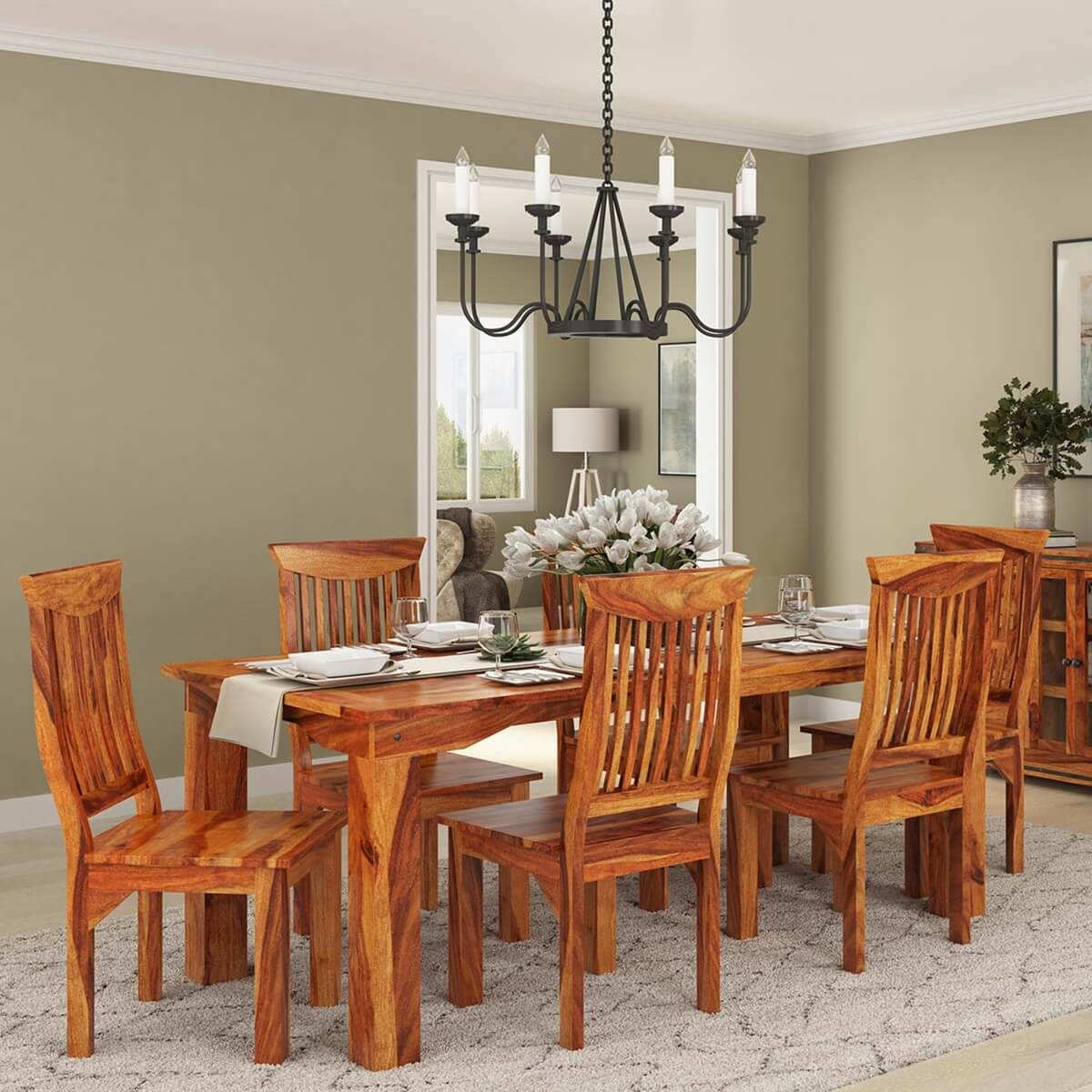 Idaho modern rustic solid wood dining table chair set for Solid wood dining table sets