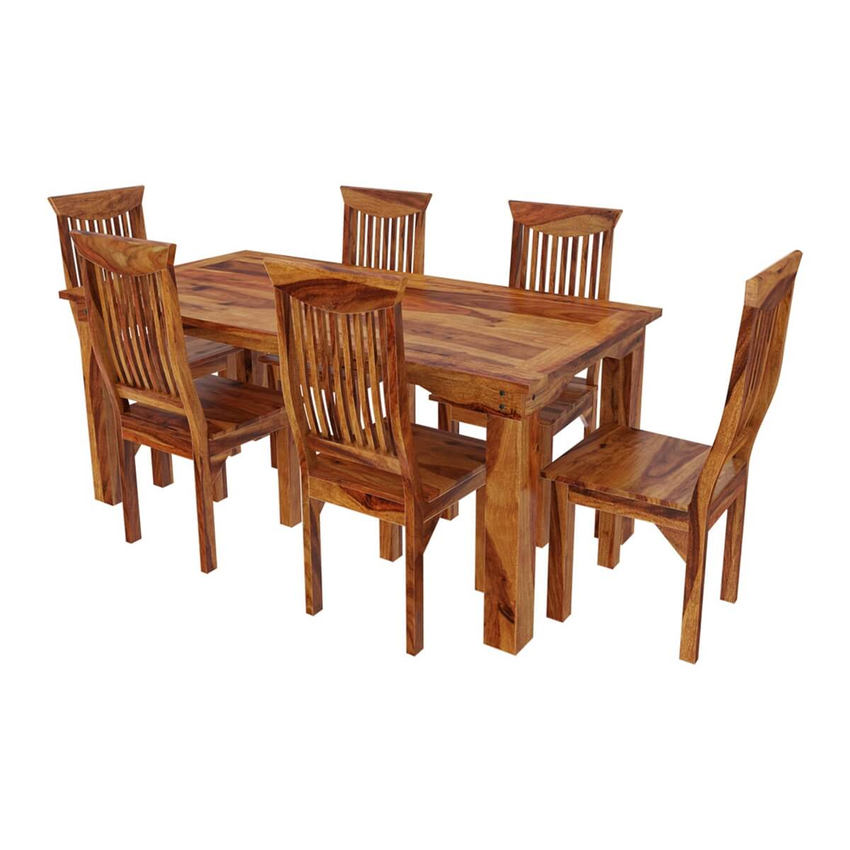 Idaho modern rustic solid wood dining table chair set for Wood dining table set
