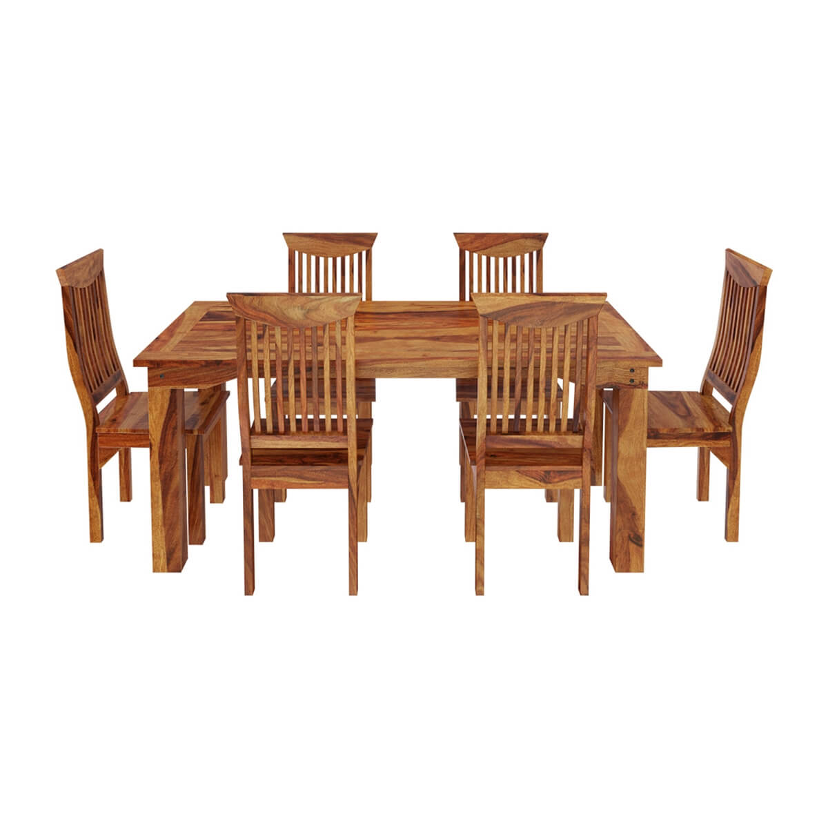 Idaho modern rustic solid wood dining table chair set for Wood modern dining table