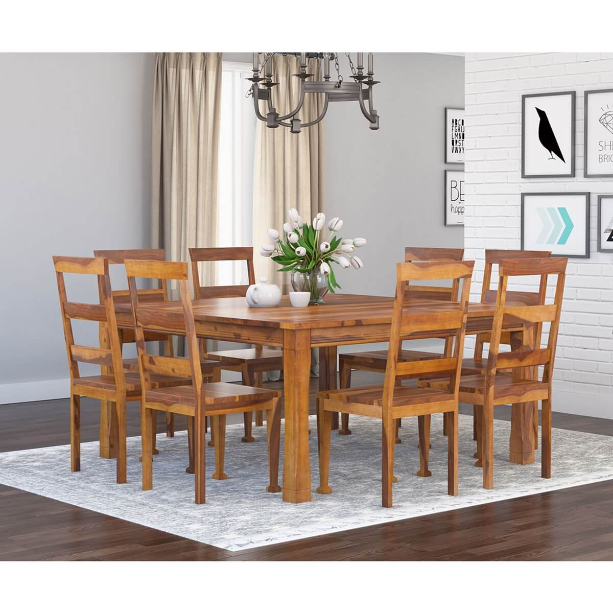 Square Dining Table With Bench: Appalachian Wood Rustic Square 9Pc Dining Table And Chair