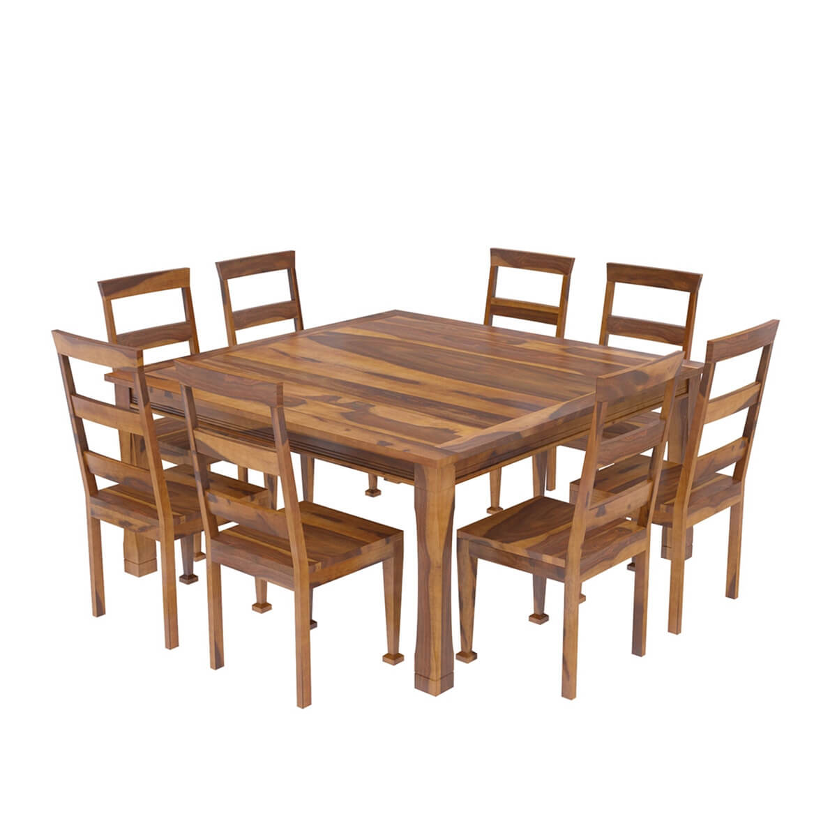 Square Dining Chairs: Appalachian Wood Rustic Square 9Pc Dining Table And Chair