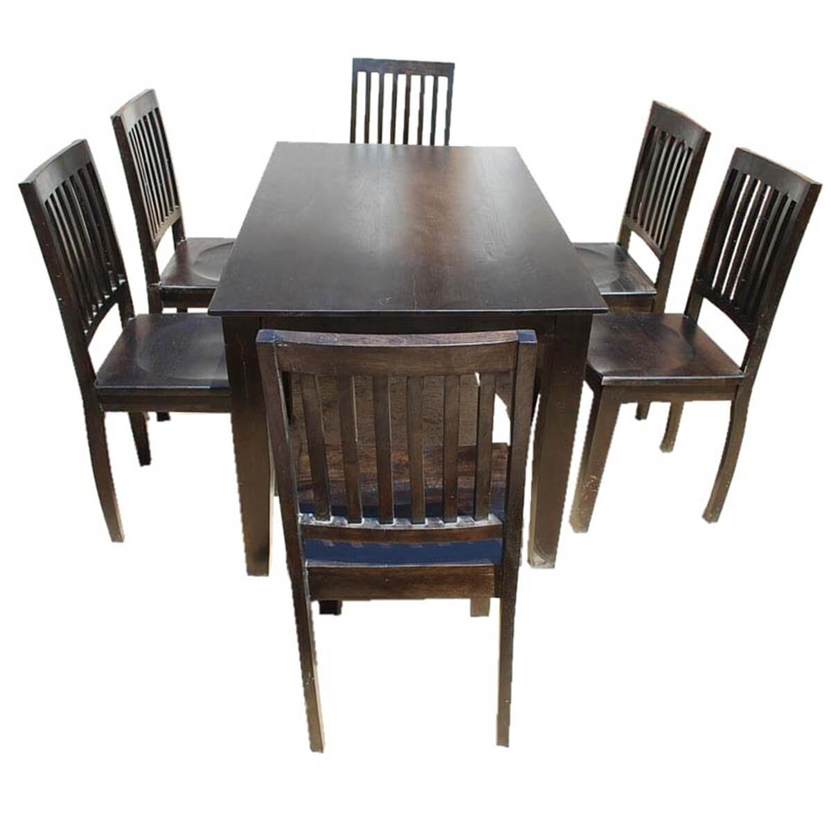 Solid wood lincoln 7pc dining room table chair set for Wood dining table set