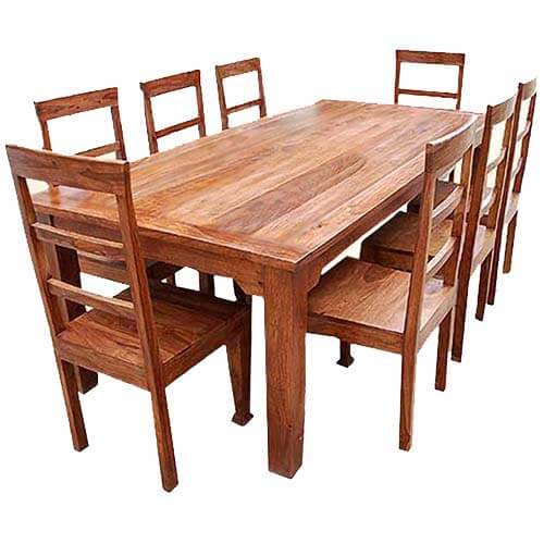 Rustic furniture solid wood dining table chair set for Solid wood dining table sets