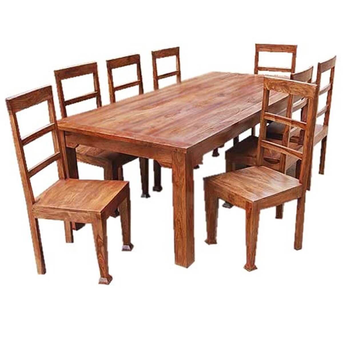 Solid Wood Kitchen Tables: Rustic Furniture Solid Wood Dining Table & Chair Set