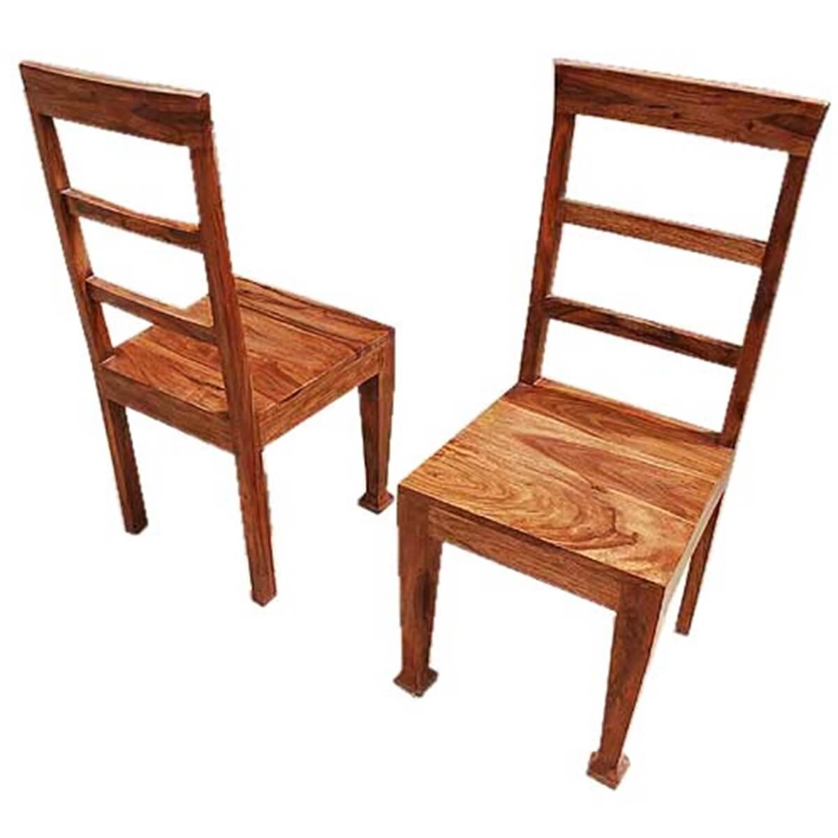 Rustic furniture solid wood dining table chair set for Oak dining room table chairs
