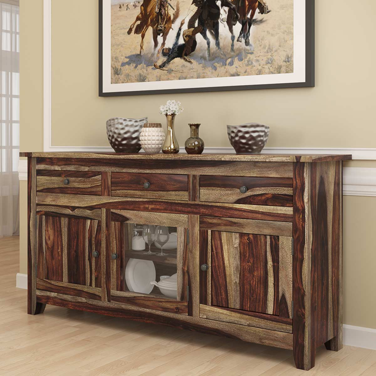 Frisco Modern Rustic Solid Wood Glass Door 3 Drawer Sideboard Cabinet