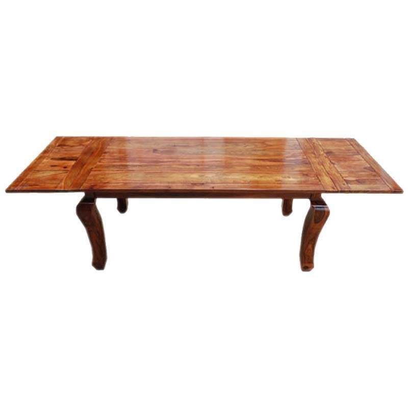 Rustic wood extension cabriole legs dining table Rustic wood dining table