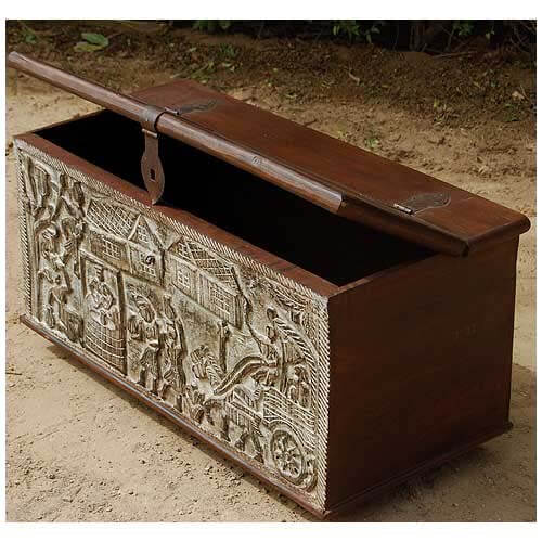 Ornate Hand Carved Mango Wood Storage Trunk Coffee Table