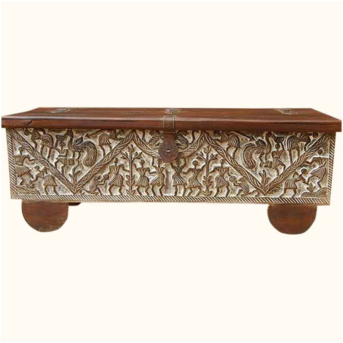 Masterpiece hand carved mango wood storage trunk coffee table Carved wood coffee table