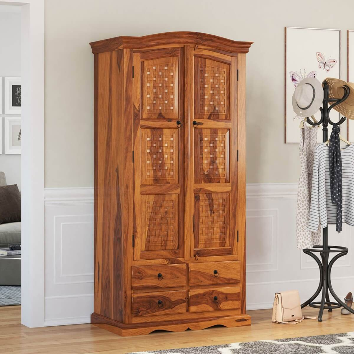 Wooden Armoire Wardrobe ~ Crawford handcrafted solid wood drawer tall armoire closet