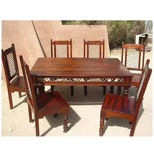 Transitional Dining Room Table: 7 Pc Transitional Dining Room Table Chair Set With Wrought