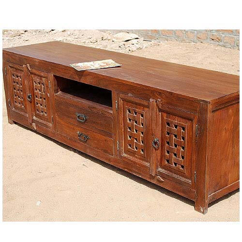 Portland contemporary rustic solid wood tv stand media console