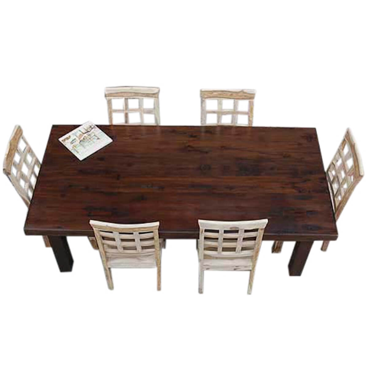 santa fe solid wood rustic dining table and chair set for 6 people. Black Bedroom Furniture Sets. Home Design Ideas