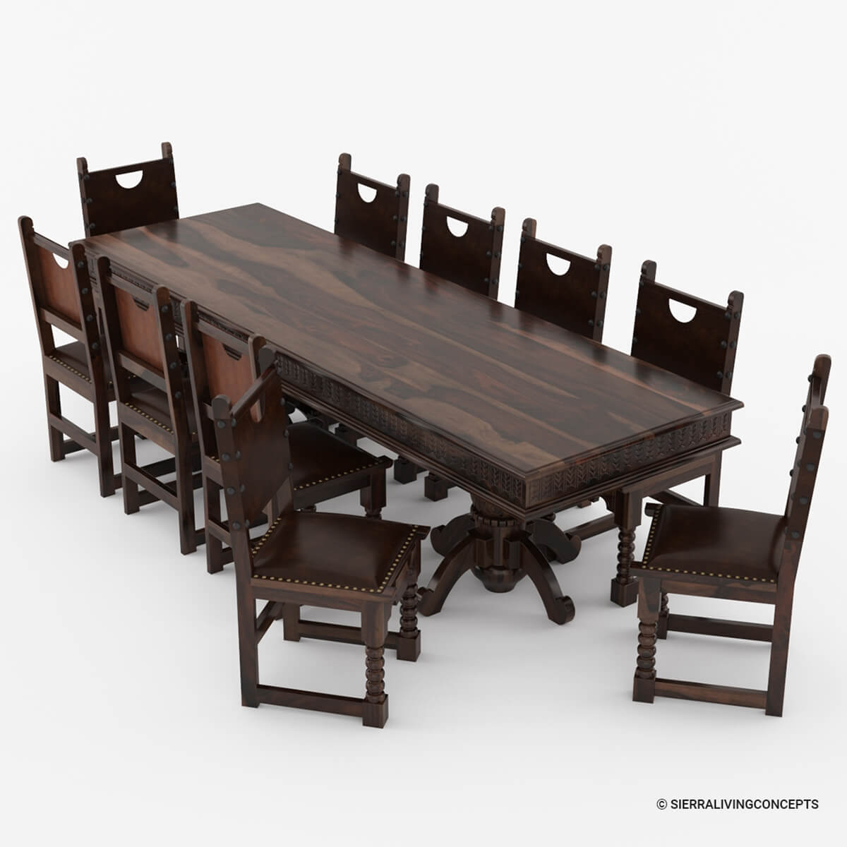 Nottingham solid wood large rustic dining room table chair set for Rustic dining room sets
