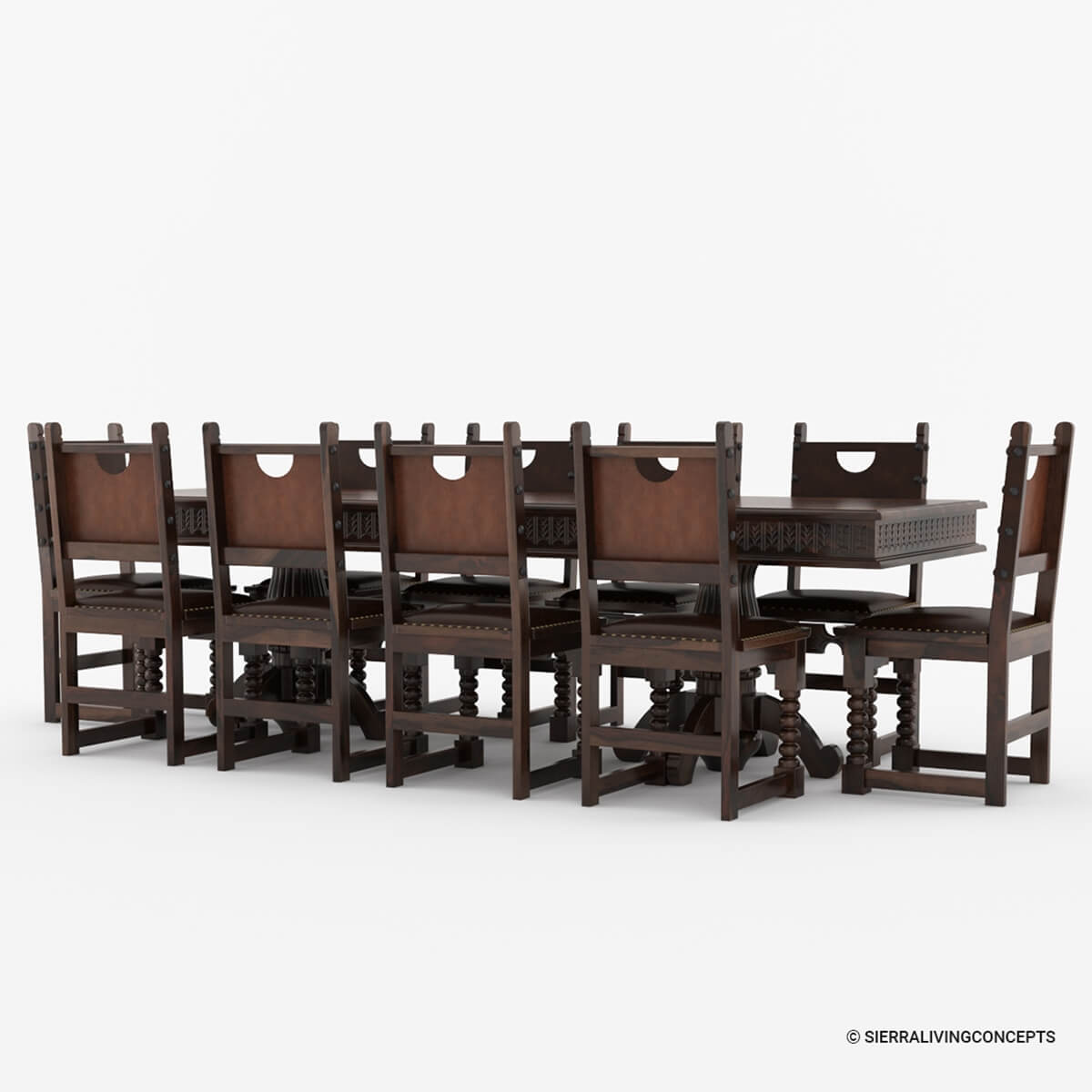 Nottingham solid wood large rustic dining room table chair set for Solid wood dining table sets
