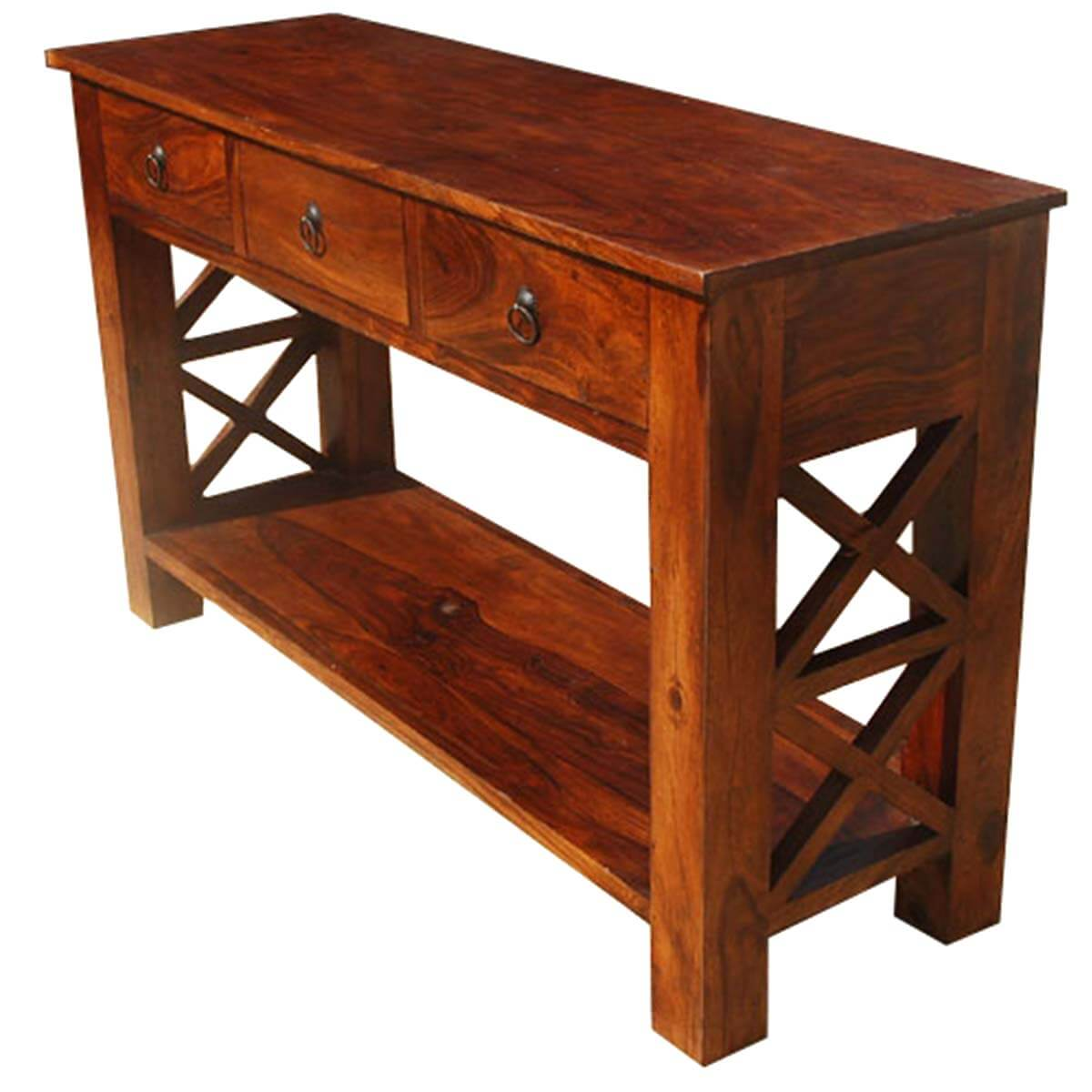Solid wood oklahoma farmhouse console table w 3 storage Console tables with storage