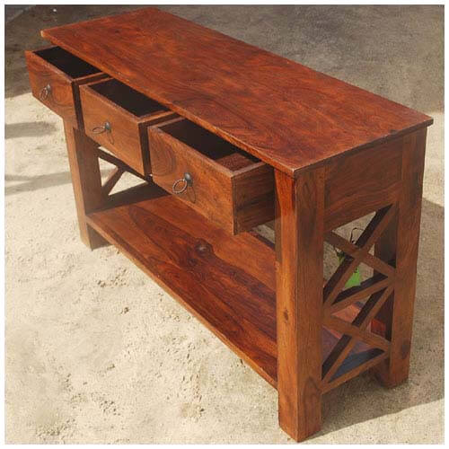 Solid Wood Console Tables With Storage ~ Solid wood oklahoma farmhouse console table w storage