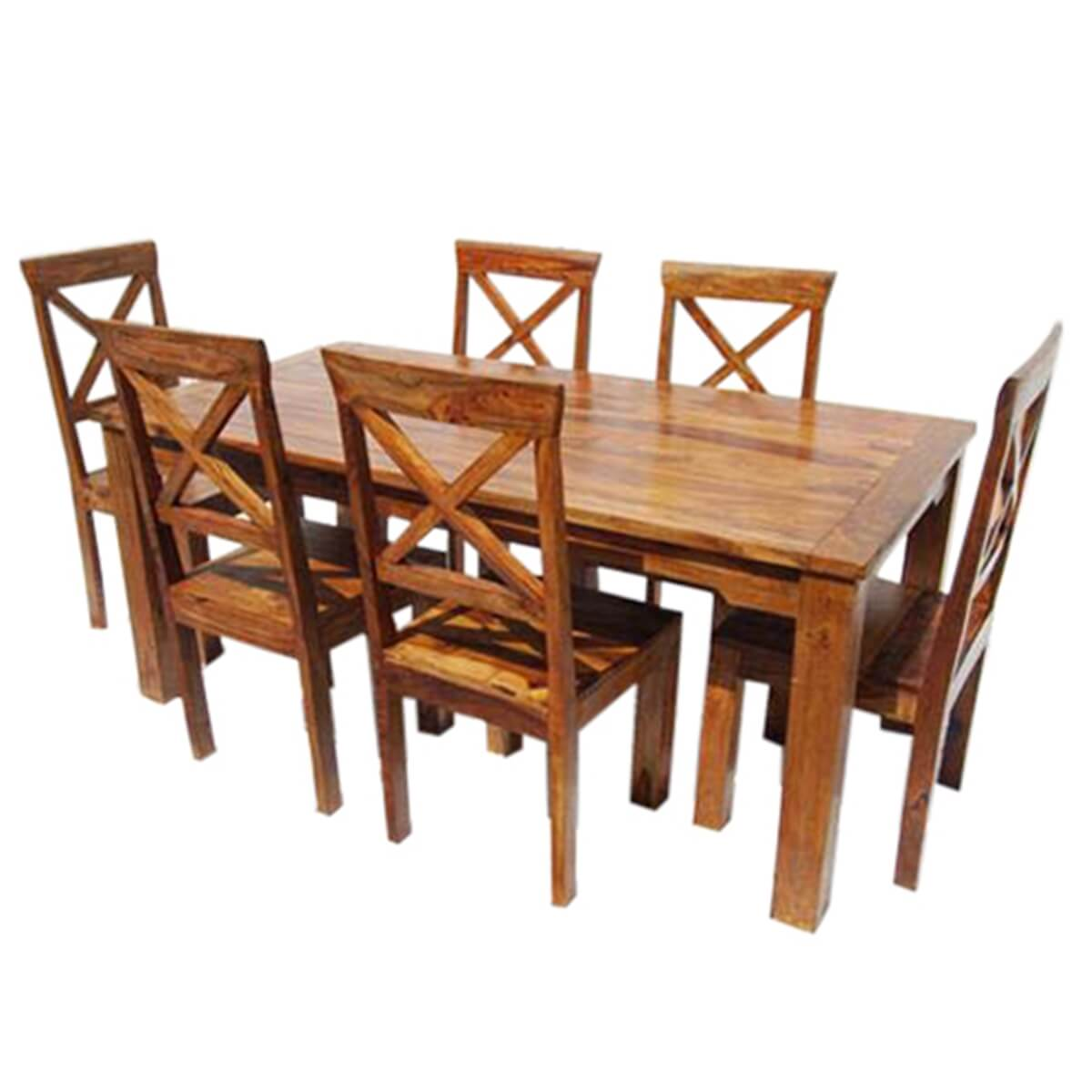 rustic solid wood oklahoma dining table chair set. Black Bedroom Furniture Sets. Home Design Ideas