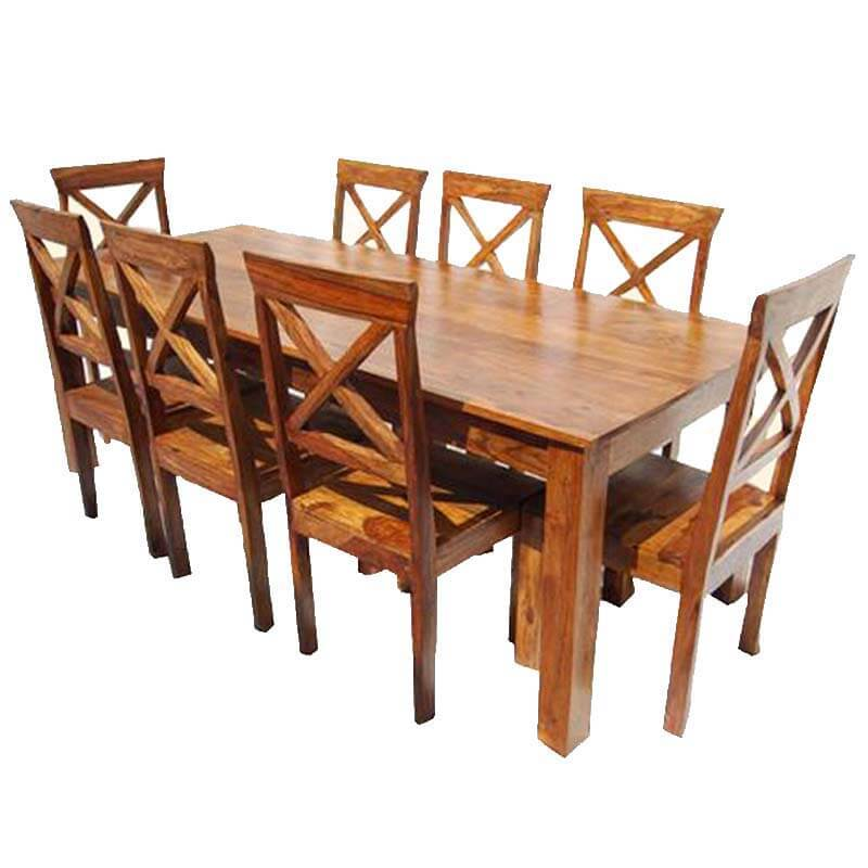Large Rustic Oklahoma Solid Wood Dining Table & Chair Set For 8 People