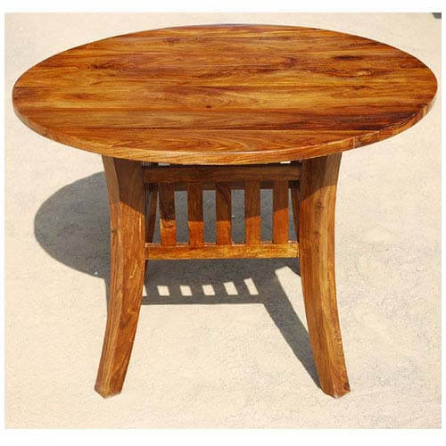 42 solid wood round dining table oklahoma farmhouse style for Solid wood round dining room table