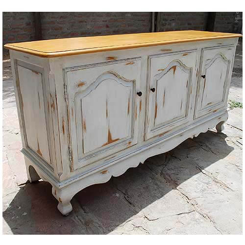 White Sideboards And Buffets: Oklahoma Farmhouse Distressed White Sideboard Buffet Credenza