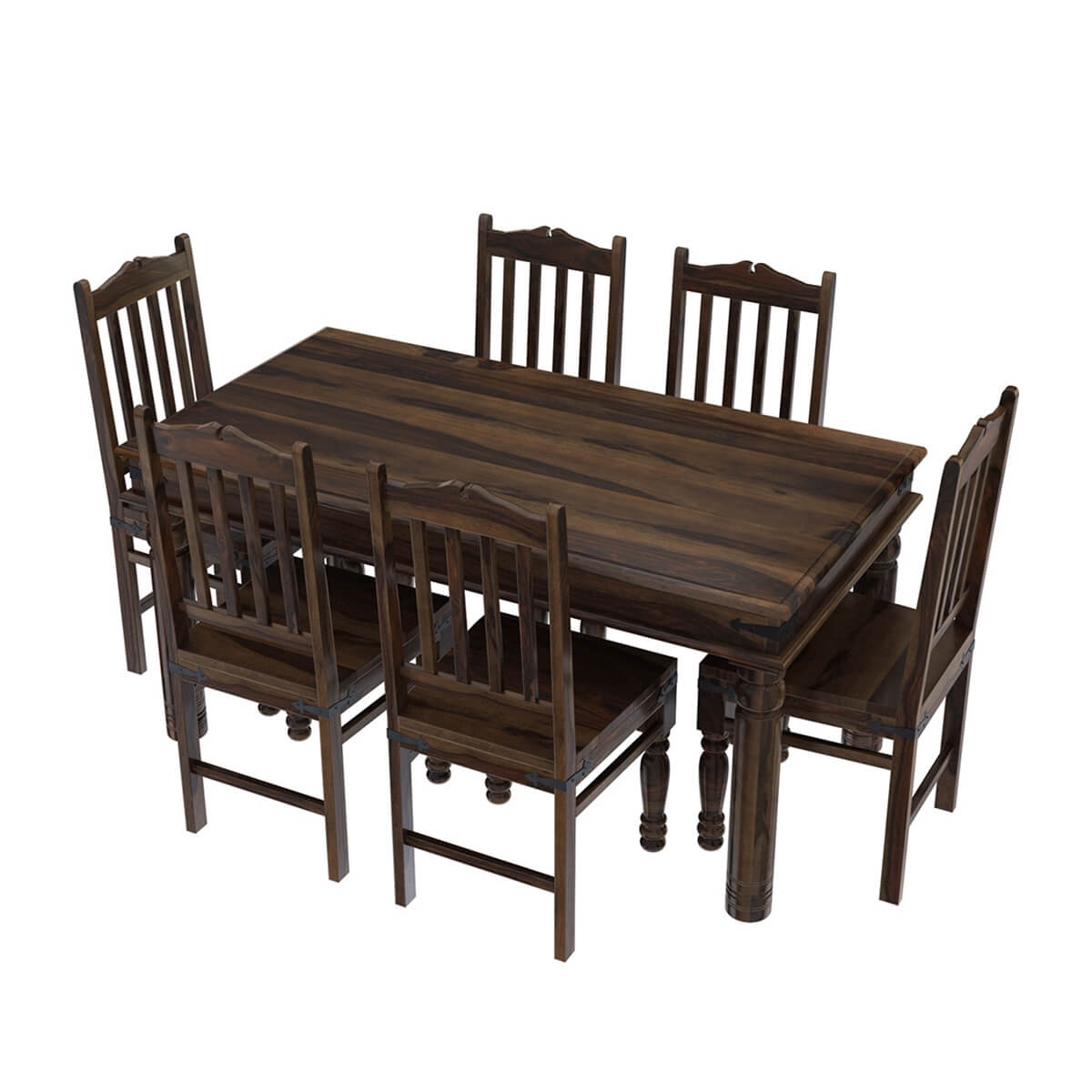 oklahoma farmhouse traditional 5pc solid wood country dining table set. Black Bedroom Furniture Sets. Home Design Ideas