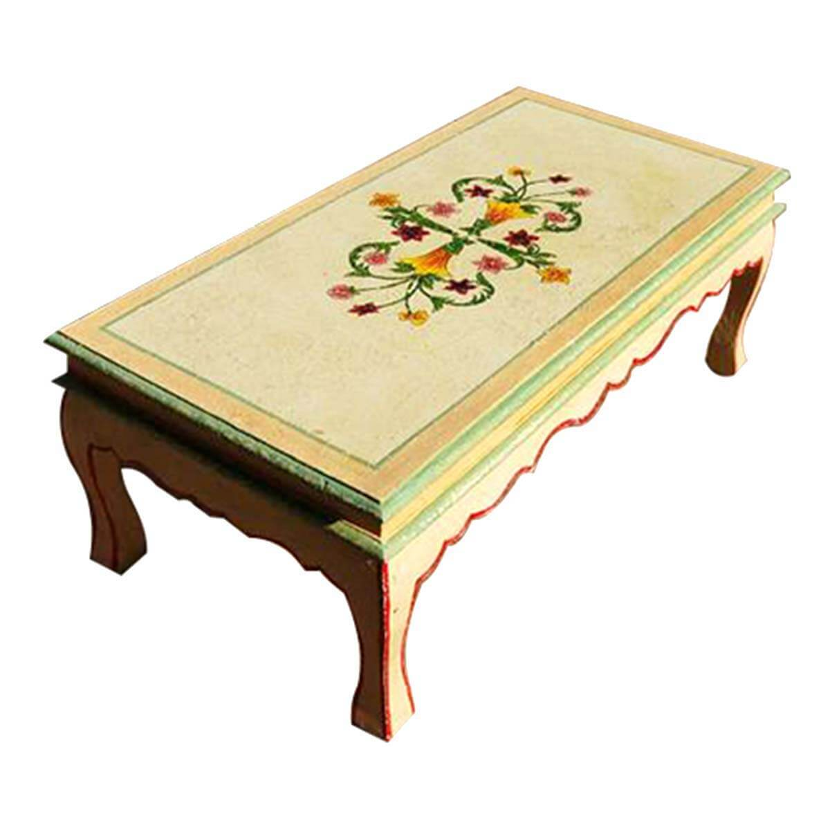 Painted Retro Coffee Table: Queen Anne Style Vintage Floral Hand Painted Coffee Table