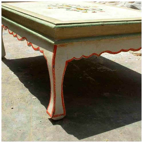 Queen Anne Style Vintage Floral Hand Painted Coffee Table