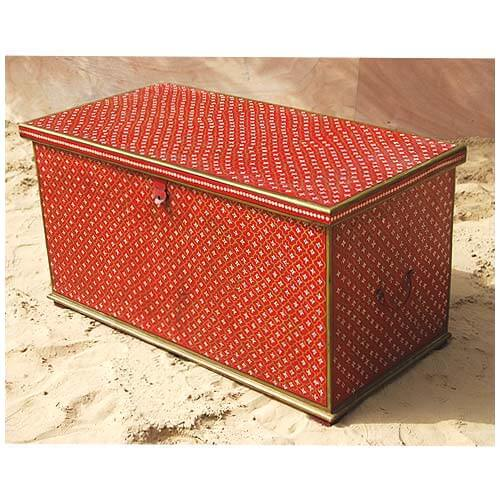 Red Hand Painted Wood Storage Trunk Box Coffee Table