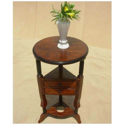 Round Wood Storage 2 Drawers Corner Table End Table