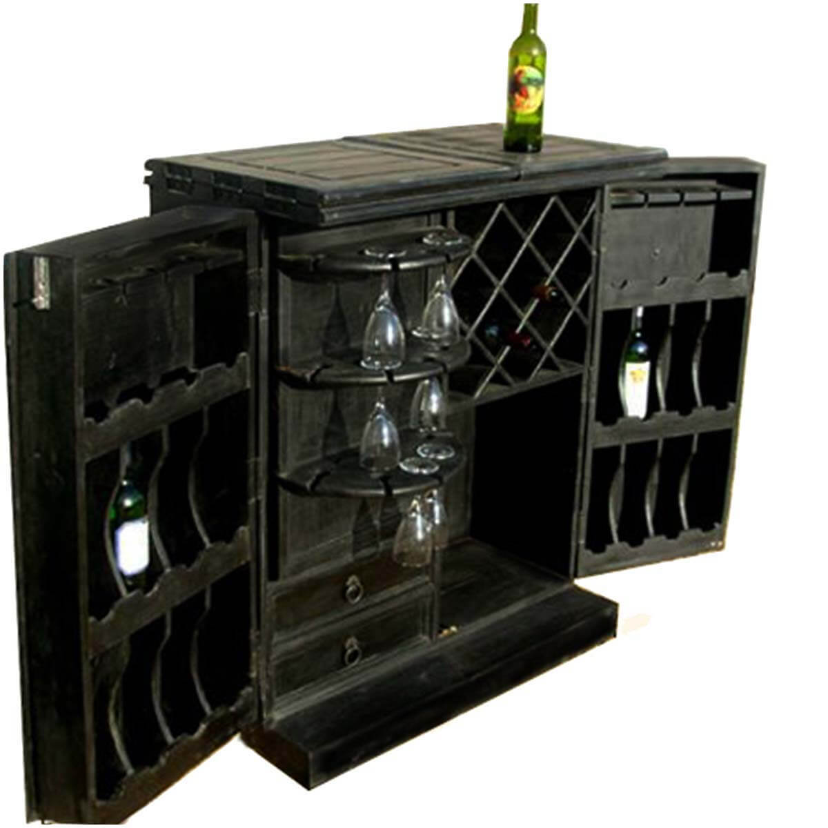 Dawson Black Solid Wood Brass Inlay Expandable Bar Cabinet